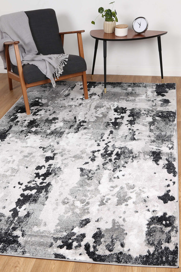 Ermina Modern Abstract Grey Black Rug