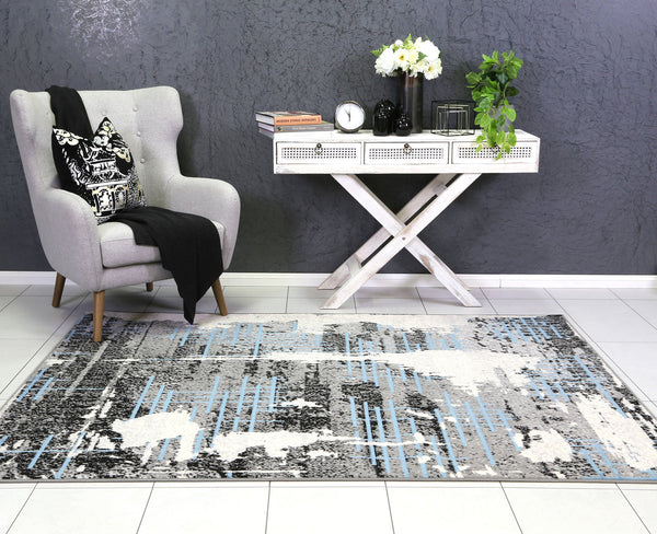 Allure Modern Urban Distressed Grey Blue Rug