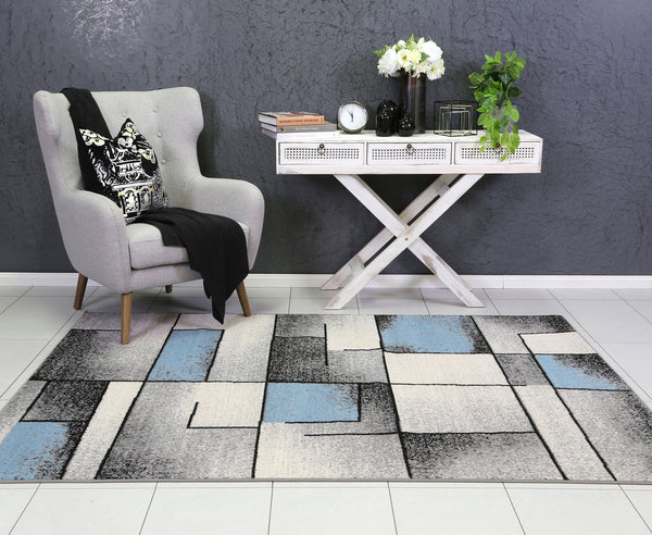 Allure Modern Squares Blue Grey Rug