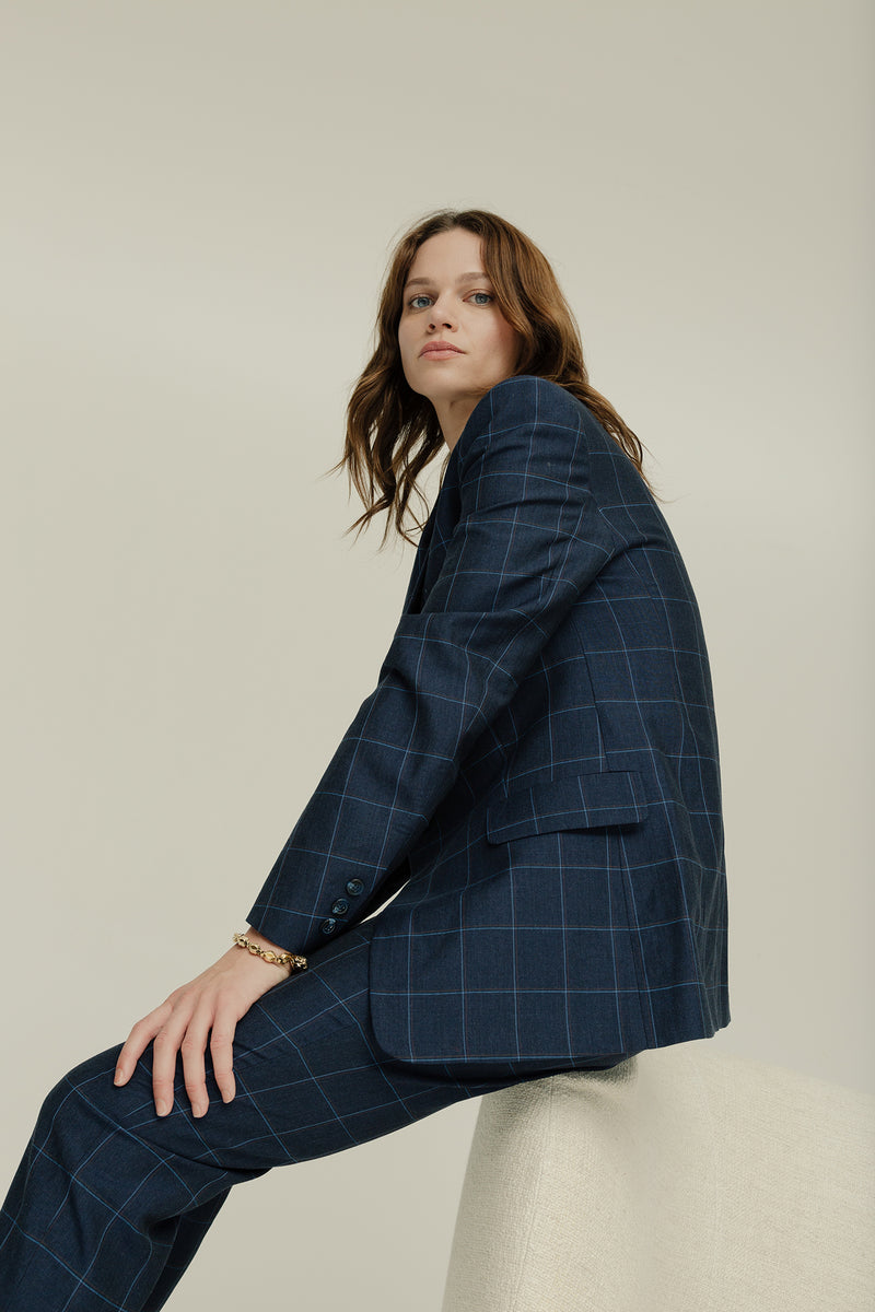 Edie Jacket Navy Check