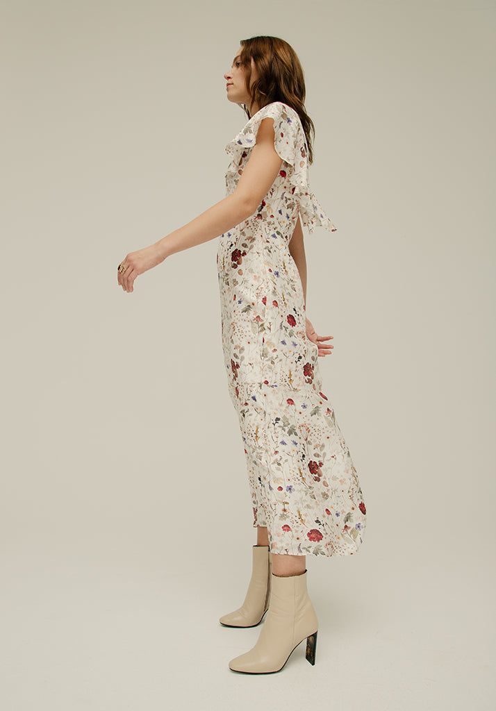 Anna Dress Pressed Floral Ivory