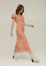 Elizabeth Dress Floral Leopard Rust