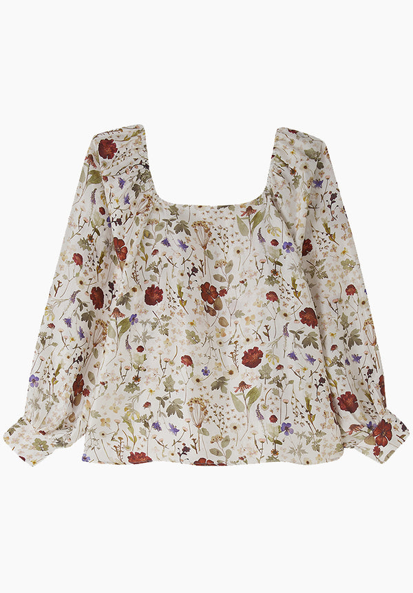Gemma Top Pressed Floral Ivory
