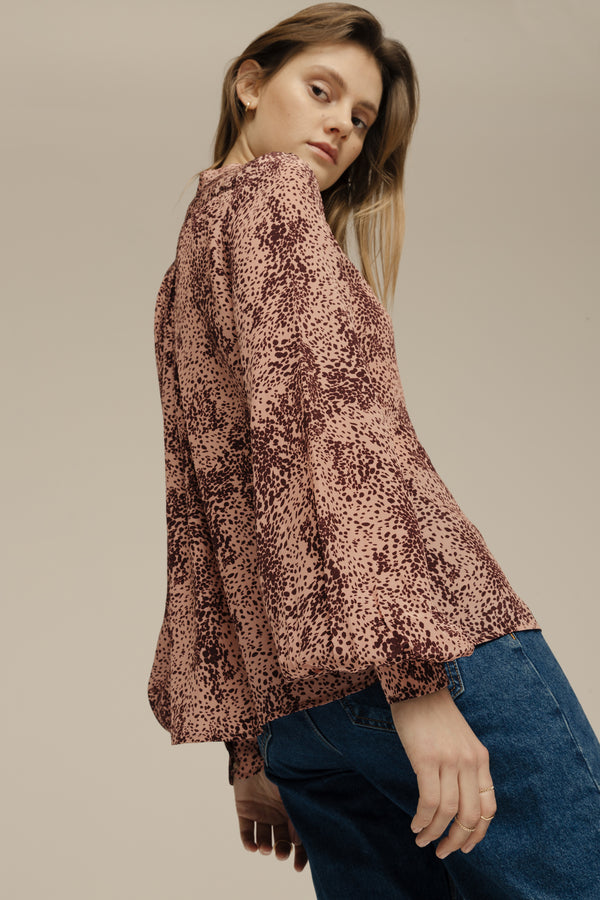 Harlowe Shirt Painted Leopard Pink