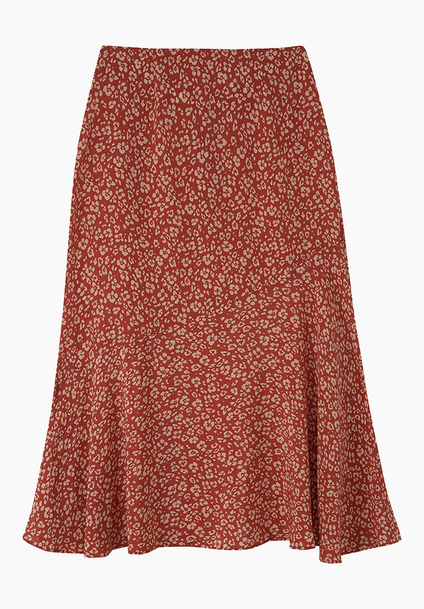 Lottie Skirt Floral Leopard Rust