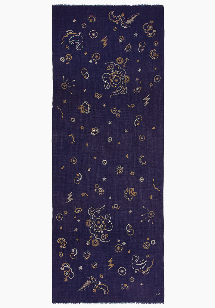 Mystical Swan Navy Embroidered Scarf