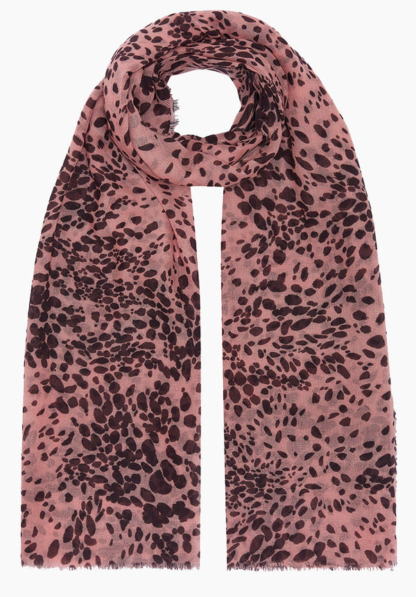 Painted Leopard Pink Cashmere Scarf