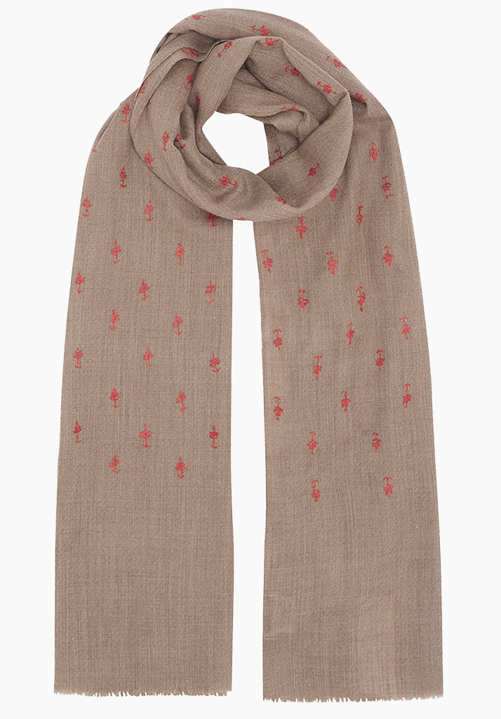 Paisley Embroidered Oat/Tobacco Scarf