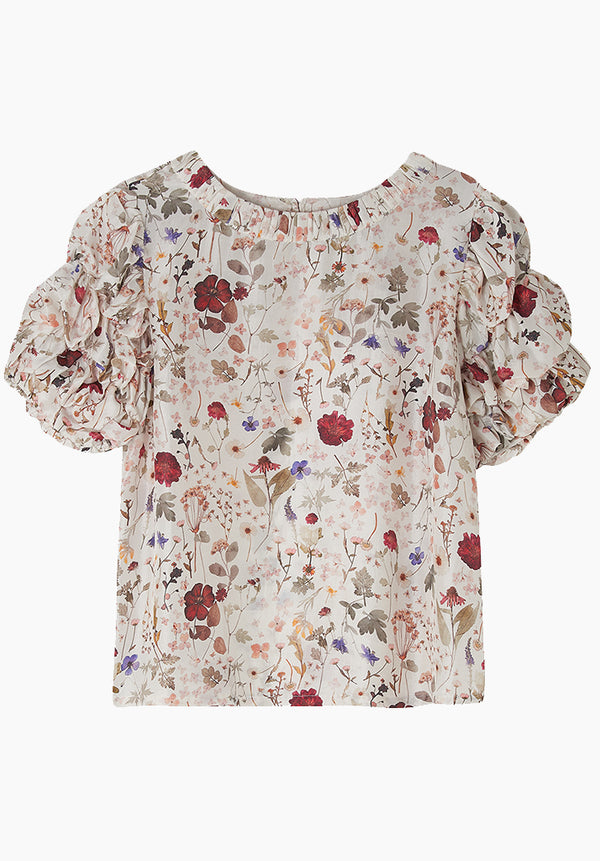 Savannah Top Pressed Floral Ivory