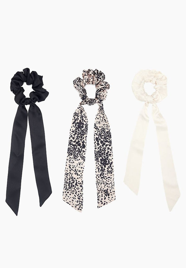 Painted Leopard, Chalk & Noir Hair Tie Set of 3