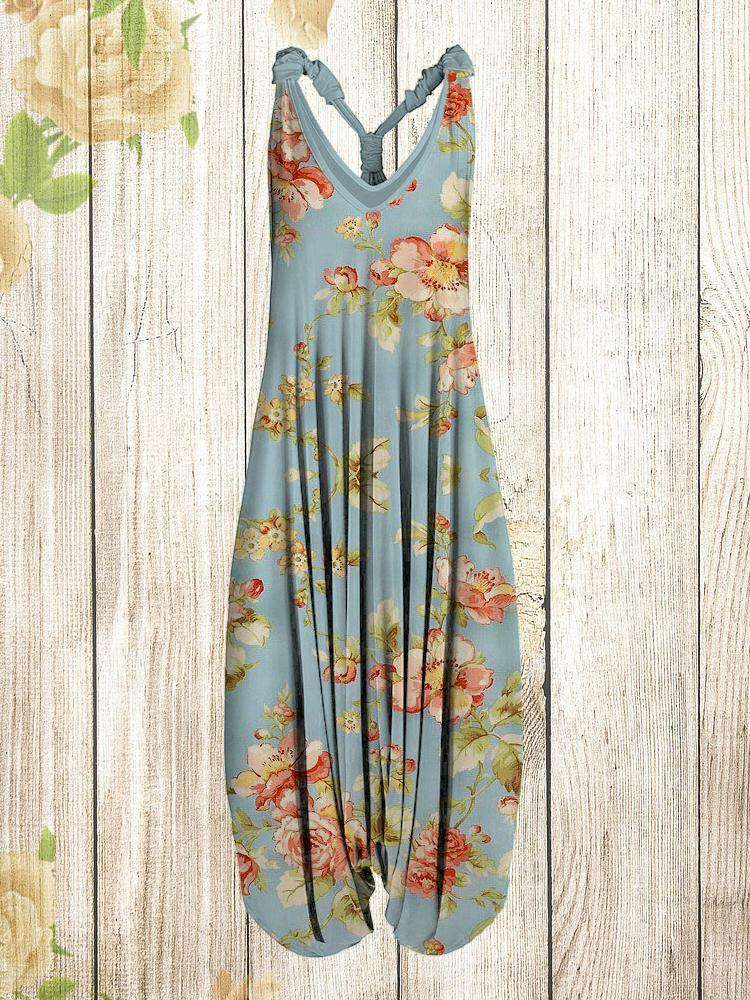 Women Vintage Blue Flower Pattern Sleeveless Harem Jumpsuit
