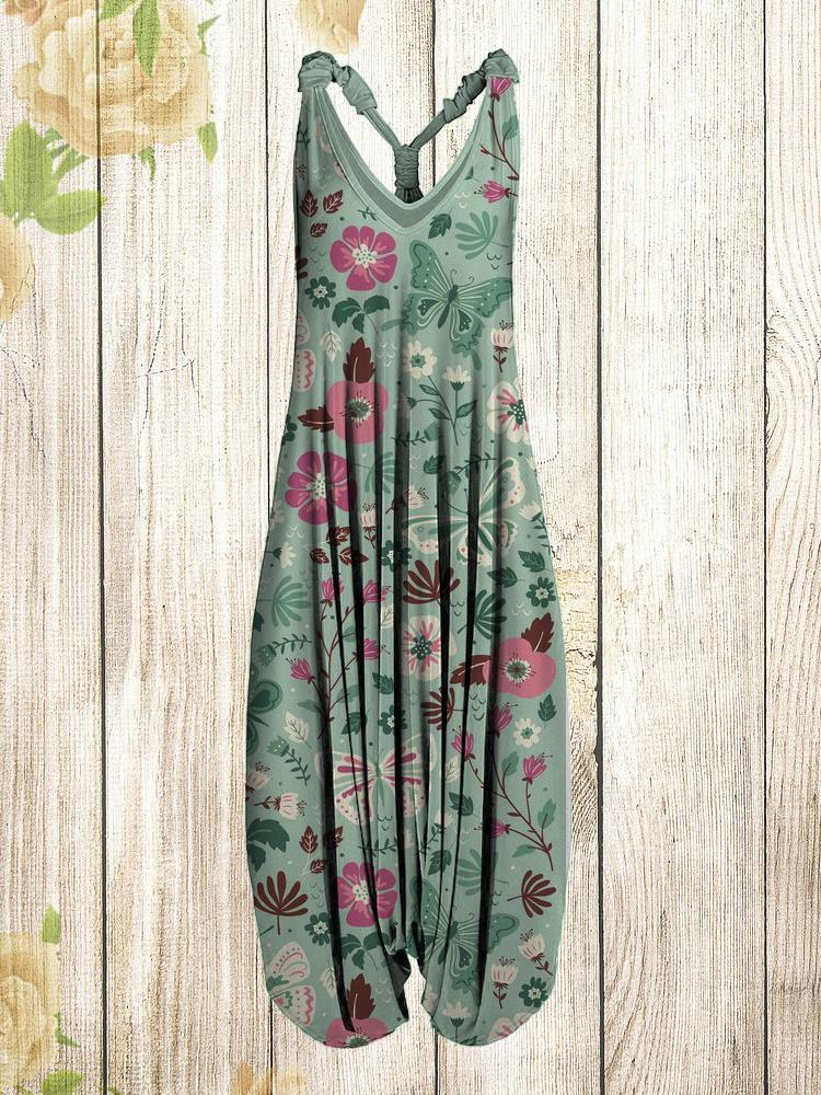 Women Vintage Flower and Butterfly Print Sleeveless Harem Jumpsuit