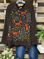Women Cute Fox Print Brown Cozy T-shirt