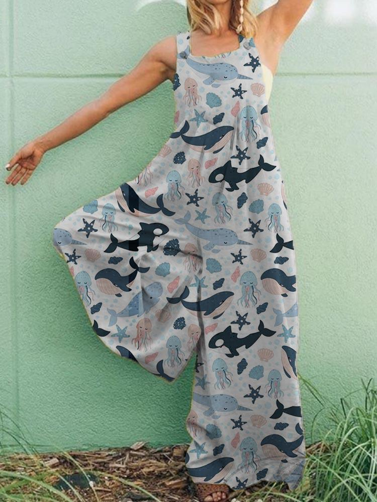 Casual Plus Size Sealife Pockets Jumpsuit