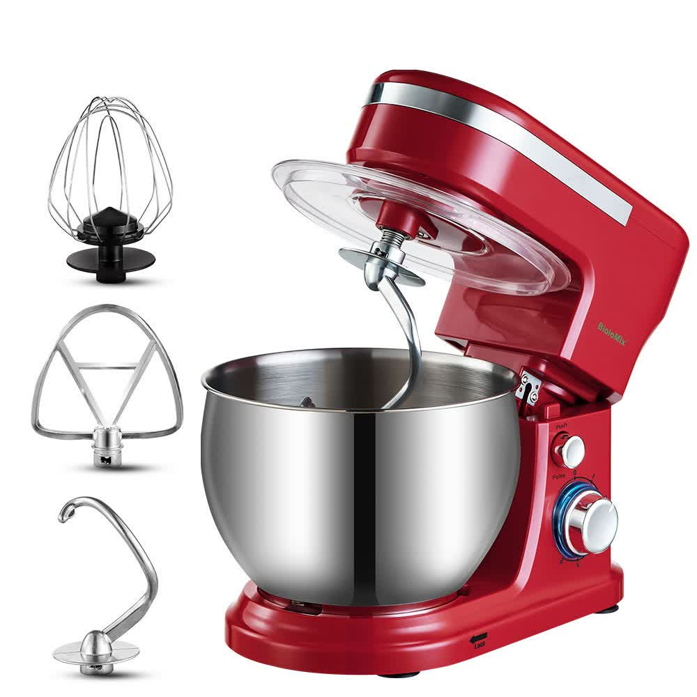 1200W 5L Stainless Steel Bowl 6-speed Kitchen Food Stand Mixer Cream Egg Whisk Whip Dough Kneading Mixer Blender