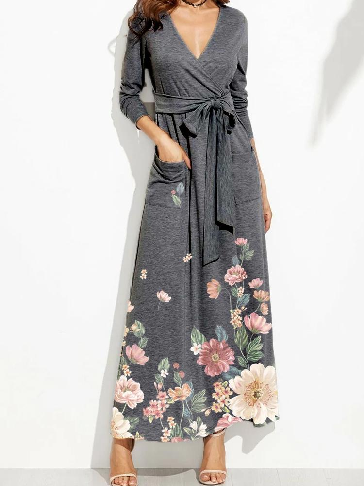 Women Dark Gray V Neckline Floral Print Cozy Maxi Dress