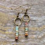 Womens Vintage Natural Stone Bohemian Dangle Earrings