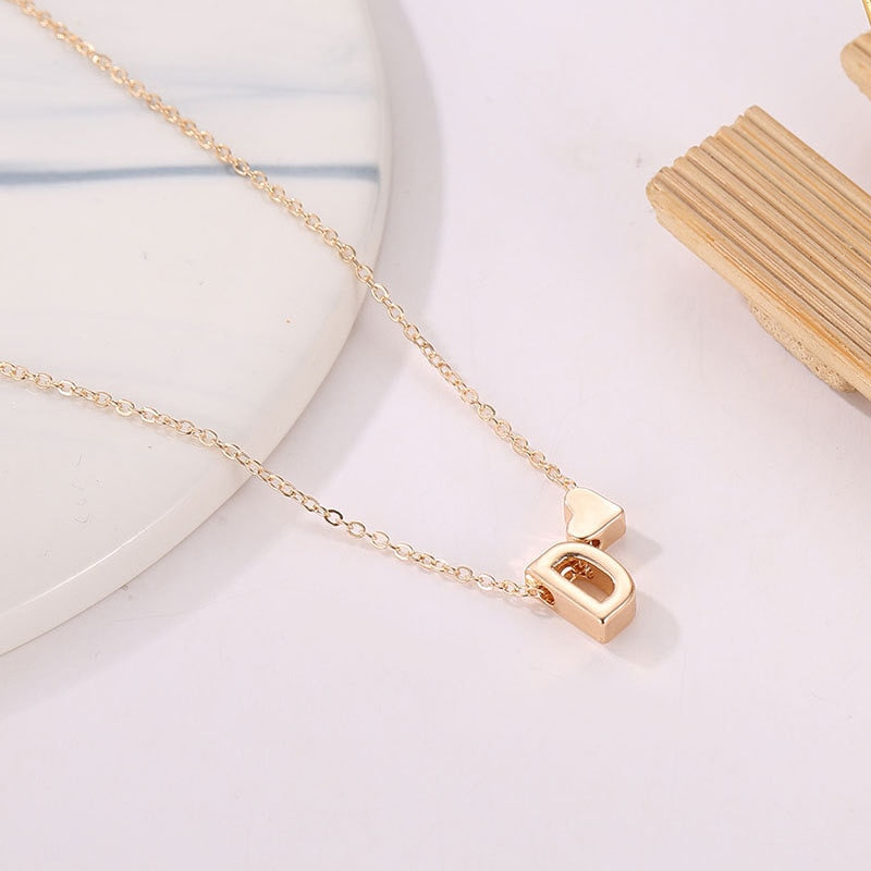 Fashion Tiny Heart Dainty Initial Necklace Gold Silver Color Letter Name Choker Necklace For Women Pendant Jewelry Gift