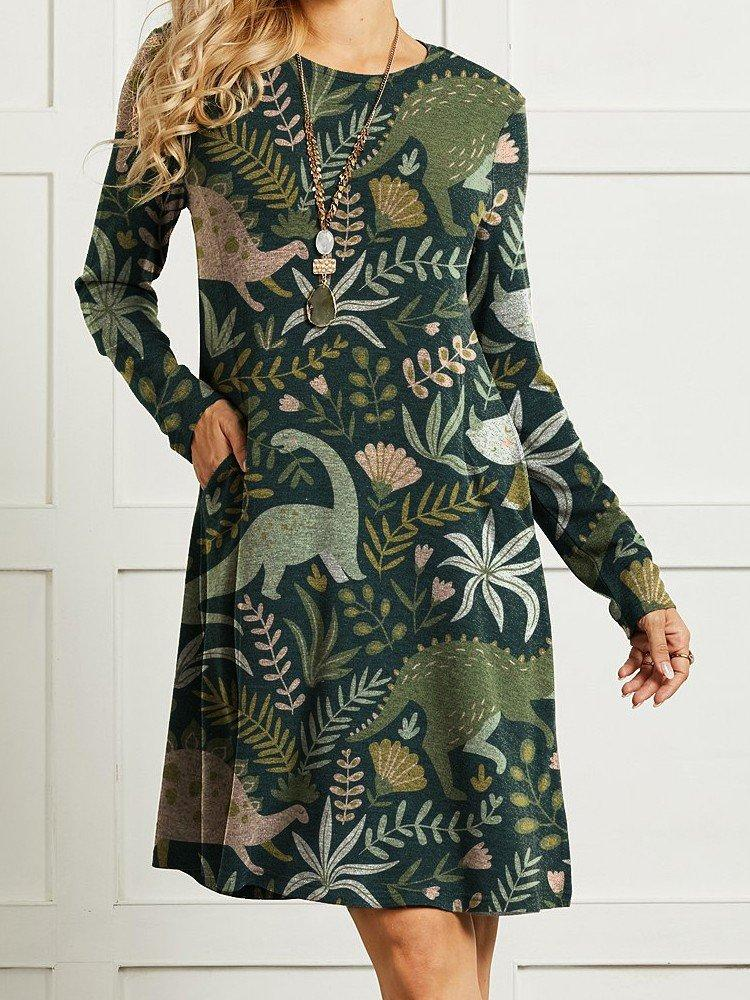 Women Floral Cute Dinosaur Printed Long Sleeve Vintage Dress