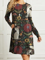 Women Floral Cute Squirrel Printed Long Sleeve Vintage Dress