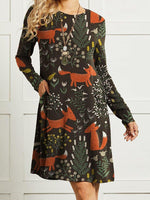 Cute Fox Printed Long Sleeve Women Vintage Dress