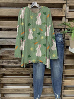 Women Hot Sale Floral Cute Bunny Green Cozy Tops