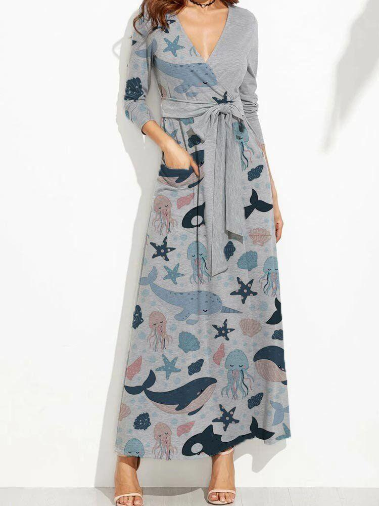 Women V Neckline Cute Dolphin Print Cozy Maxi Dress
