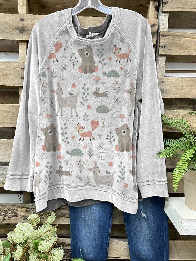 Women Round Neck Cute Animals Printed Long Sleeve Cozy Tops