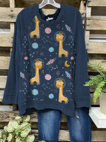 Women Cute Giraffe In Universe Printed Long Sleeve Cozy Tops
