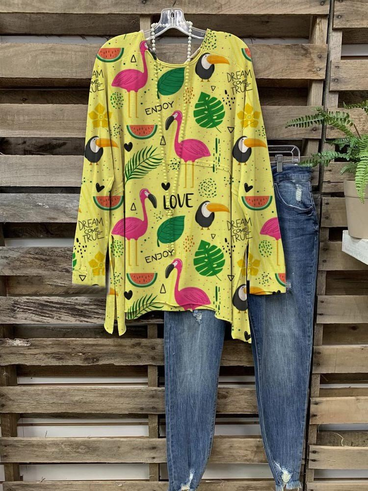 Women Yellow Flamingo Animals & Fruit & Leaves Printed Cozy Tops