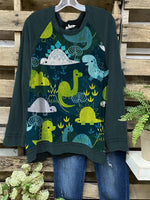 Women O-neck Cute Dinosaur Printed Long Sleeve Cozy Casual Tops
