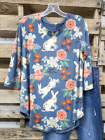 Easter Blue Cute Bunny Floral Printed Long Sleeve Cozy Casual Tops