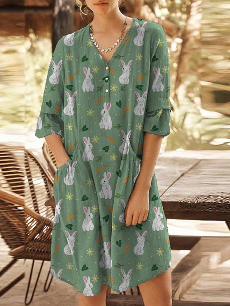 Women Cute Green Bunny Pocket Vintage Mini Dress