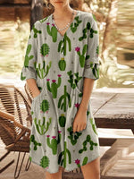 Cute Cactus Pockets Vintage Cozy Mini Dress