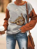 Cute Orange Cat Long Sleeve O Neck Loose Autumn Sweatshirt