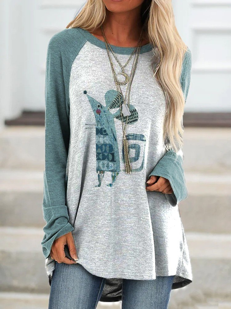 Women Cute Mise Printed Long Sleeve Cozy Tops