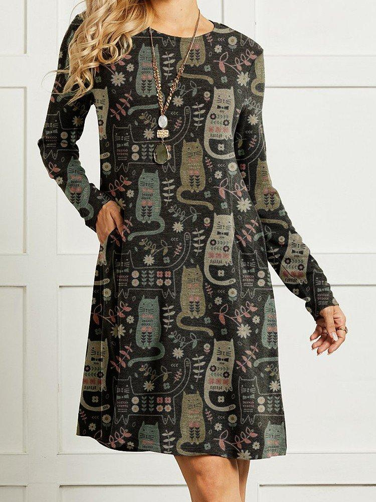 Cute Cat Printed Long Sleeve Women Vintage Dress