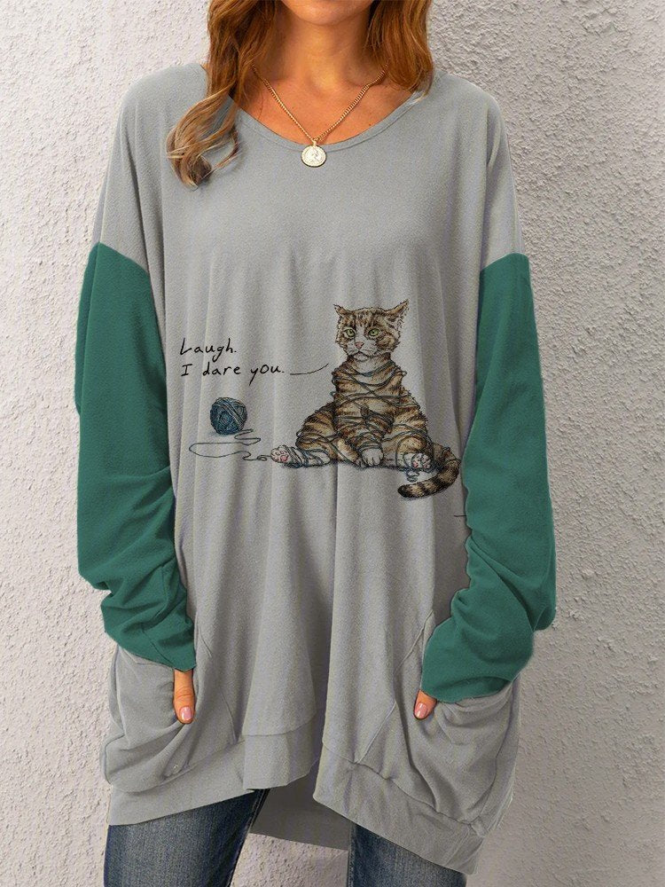 Women Pockets Cute Tabby Cat Long Sleeve Cozy Tops