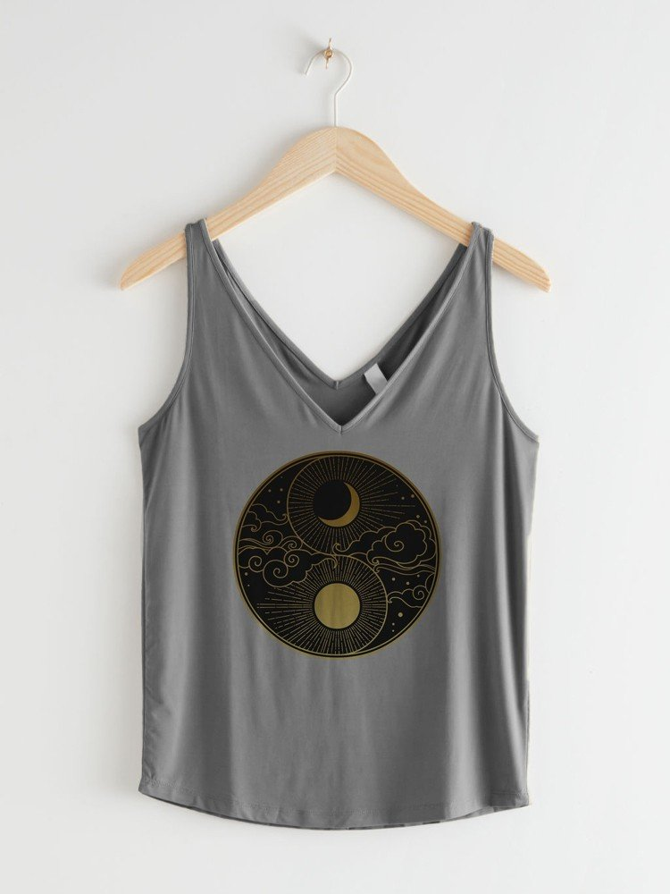 Women Summer Deep V-neck Sun & Moon Loose Cozy Top