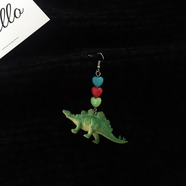 Women Fashion Cute Exquisite Resin Dinosaur Animals Drop Earrings Punk Party Cool Earring