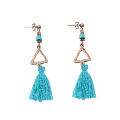 Amader Vintage Colorful Fringe Long Tassle Women Earring Top Alloy Dangle Drop Earring