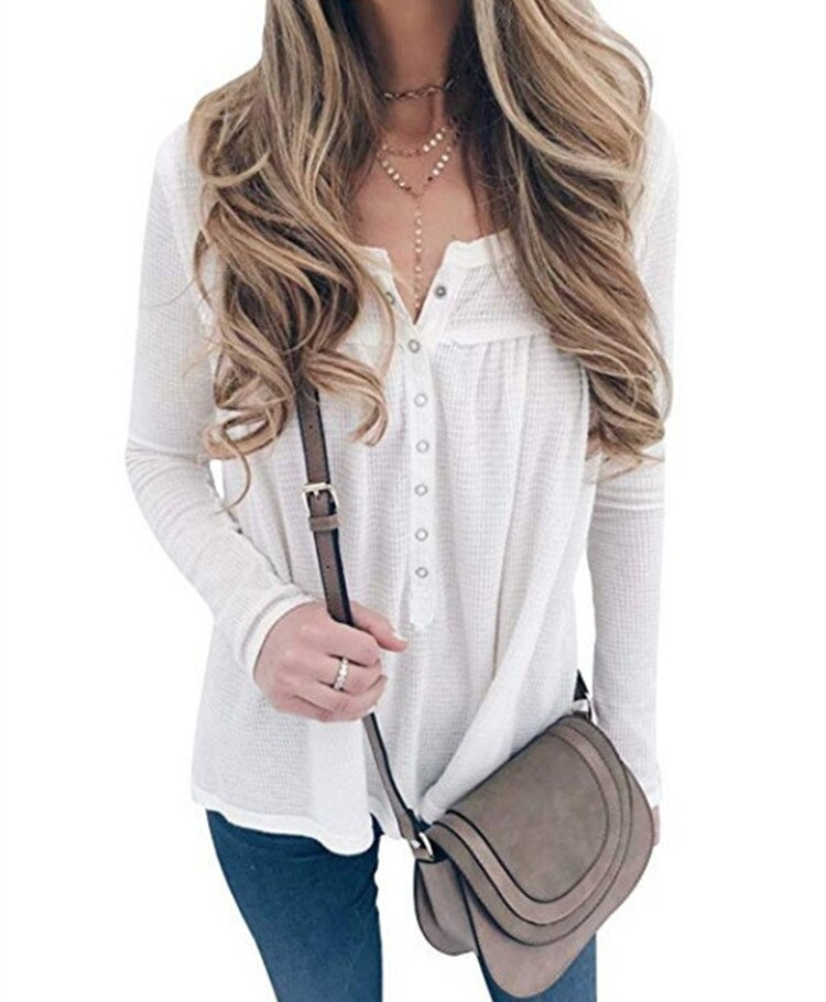 Women's V-Neck Sexy Long Sleeve Waffle Knit Tops Sweater Female Casual Loose Blouses Women Tunic Button Down Blouse Plus Size