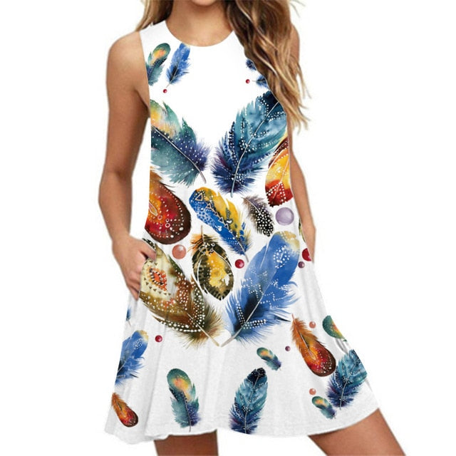 2021 Beach Summer Dress Female Floral Print Sleeveless A-Line Sexy Dress Women Pocket Loose Casual Tank Dress Plus Size Vestidos