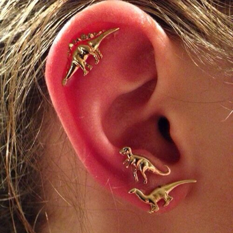 6 Pcs/set New Small Animal Dinosaur Suit Personality Earrings
