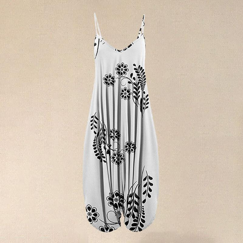 2021 Women Black & White Floral Sleeveless Harem Jumpsuit Spaghetti Fashion Vintage Overall Straps Long Jumpsuit