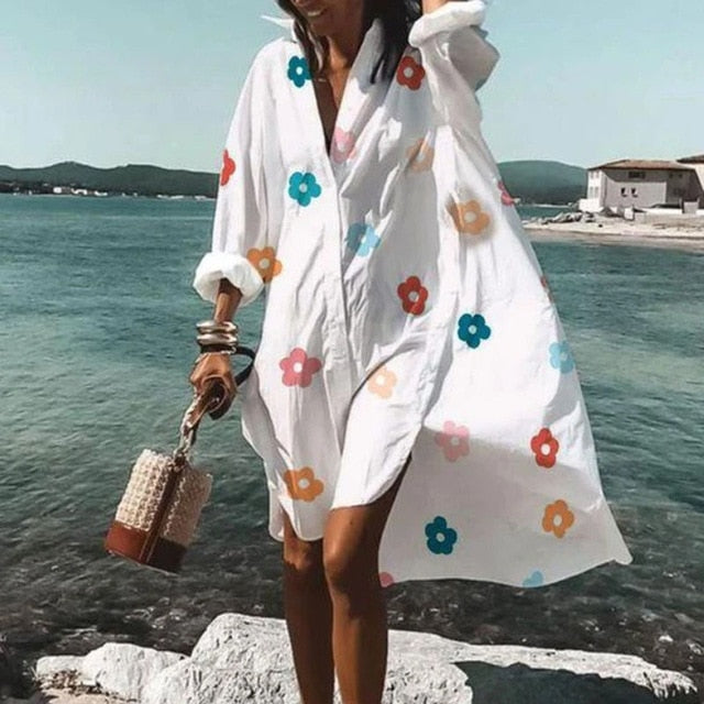 2021 Women Button Shirt Dress Elegant Floral Print Long Sleeve Dress Ladies Casual Loose A-Line Beach Boho Dress Vestido