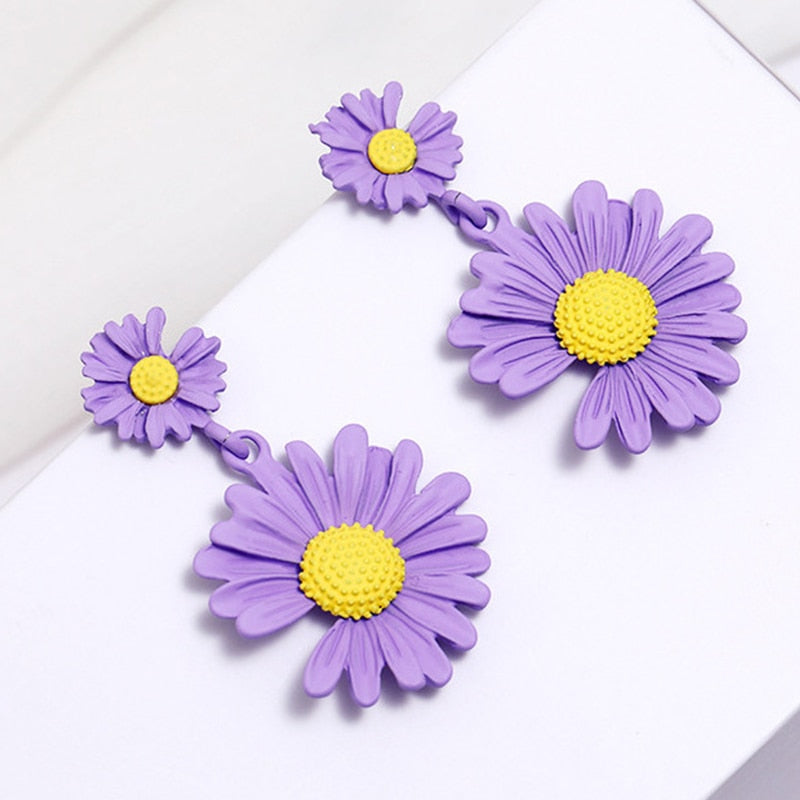 Shiny Side Fashion Accessories Cute Flower Stud Earrings for Women Gift Elegant Daisy Earrings