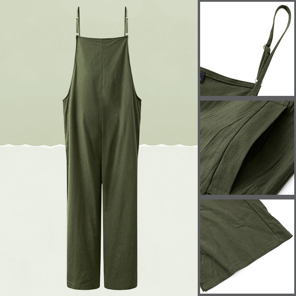 Women Strap Loose Jumpsuit Summer Casual Wide Leg Pants Solid Dungaree Bib Overalls Sleeveless Oversized Cotton Linen Jumpsuits