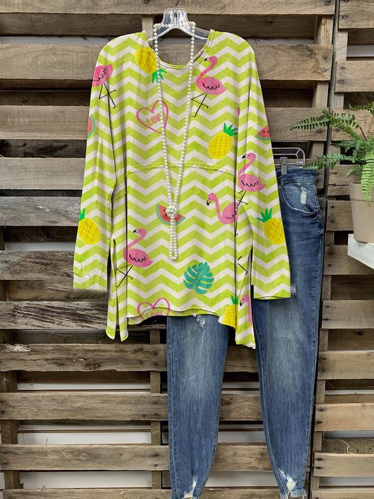 Cute Flamingo&Pineapple Printed Long Sleeve Cozy Casual Tops
