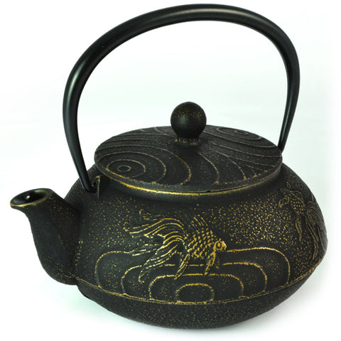 Iwachu Iwachu Cast Iron Tetsubin Teapot With Goldfish Pattern In Black & Gold
